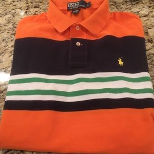Polo Ralph Lauren Orange Bold Striped Polo